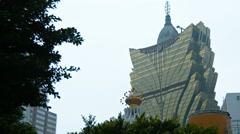 Grand Lisboa Hotel and Casino's unique architecture in Macau. Stock Footage