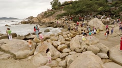 Crowd of tourists visiting the Hon Chong Rocks in Nha Trang. Stock Footage