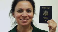 Woman USA Passport Portrait Closeup Stock Footage