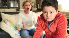 Angry mother scolding a disobedient child 3 Stock Footage