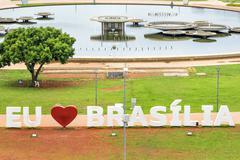 I Love Brasilia Sign in Brasilia, Capital of Brazil Stock Photos