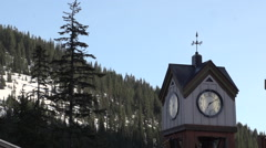 Clock Tower: With Mountain Back drop Stock Footage