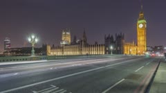 London, UK, Timelapse  - Big Ben at Night Stock Footage