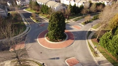 Suburban Roundabout Aerial Stock Footage