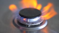 Gas Ring on Cooker Ignite, Slow Motion, Close Up  - stock footage