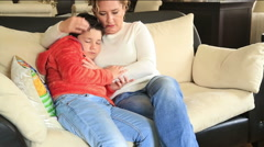 Sad mother with her son 3 - stock footage