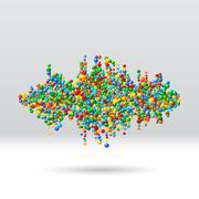 Stock Illustration of Sound waveform made of scattered balls