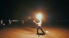 Impressive fire show Stock Footage