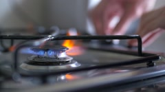 Gas Ring on Cooker Ignite, Slow Motion - stock footage