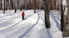 Man cross country skiing - stock footage
