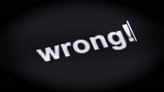"""wrong!"" on the screen Stock Footage"