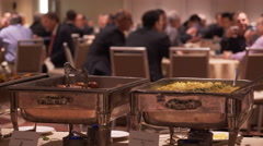 Banquet chafing dishes at a conference - stock footage