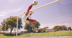 Football player scoring a goal Stock Footage