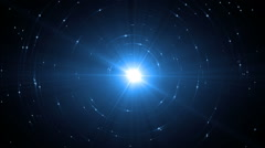 Animation blue background with rays in space. - stock footage