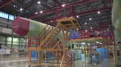 Airbus Tianjin Delivery Center inside4/ Assembling A320  Stock Footage