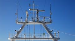 Radio wave radar communication equipment on the ship Stock Footage