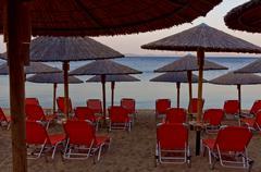 Empty beach before sunrise at Sithonia, Greece Stock Photos
