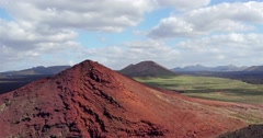 aerial view vulcano Lanzarote in the sun - stock footage