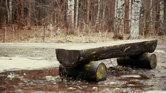 Wooden bench in the forest, handmade, dolly shoot. - stock footage