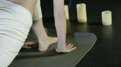 Practices yoga girl close-up Stock Footage