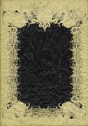 Antique grunge page with fantasy sinister bizarre frame - stock illustration