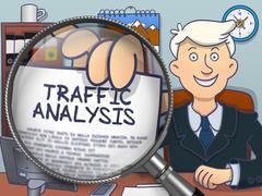 Traffic Analysis through Lens. Doodle Concept - stock illustration