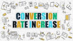 Multicolor Conversion Rate Increase on White Brickwall Stock Illustration