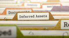 Deferred Assets Concept. Folders in Catalog - stock illustration