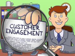 Customer Engagement through Magnifying Glass. Doodle Concept - stock illustration