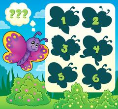 Butterfly riddle theme image - eps10 vector illustration. - stock illustration