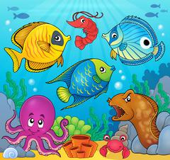 Coral fauna theme image - eps10 vector illustration. - stock illustration