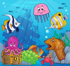 Underwater ocean fauna theme - eps10 vector illustration. - stock illustration
