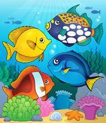 Coral reef fish theme image - eps10 vector illustration. Stock Illustration