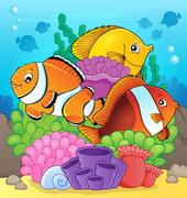 Coral reef fish theme image - eps10 vector illustration. - stock illustration