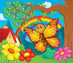 Happy butterfly topic image - eps10 vector illustration. Stock Illustration