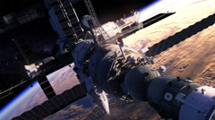 Flight Of Space Station Over The Earth Stock Footage