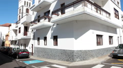Low rise and renovated beautiful dwelling houses with large balconies. Garachico Stock Footage