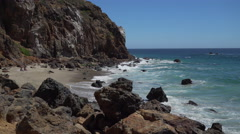 View of secluded beach at Point Dume Stock Footage