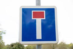 French dead end street road sign on white sky - stock photo