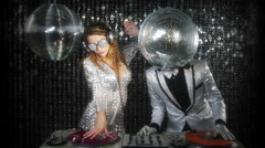 Disco man woman sexy discoball glitterball party music dj Stock Footage