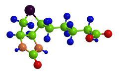 Molecular structure of biotin (so called vitamin B7, vitamin H or coenzyme R) - stock illustration