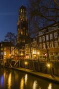 Utrecht at Night Gaardbrug and Church (Dom) Netherlands - stock photo