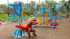 Little Boy on the Playground Stock Footage