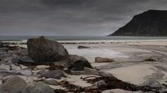 Lofoten beach sea ocean timelapse wild environment nature Stock Footage