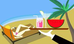 Sunbathe lady at beach with cocktail serve. - stock illustration