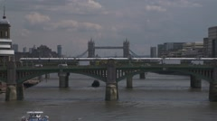 Wide shot of Tower Bridge and the Thames River, London Stock Footage
