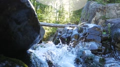Small rapids with fast moving water on a sunny day Stock Footage
