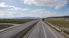 European Highway traffic tele lens stabilized 10 Stock Footage
