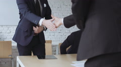 Business negotiations, handshake -  successful job interview Stock Footage