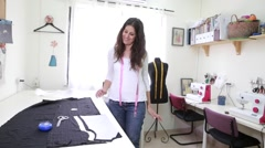 Cute seamstress workshop Stock Footage